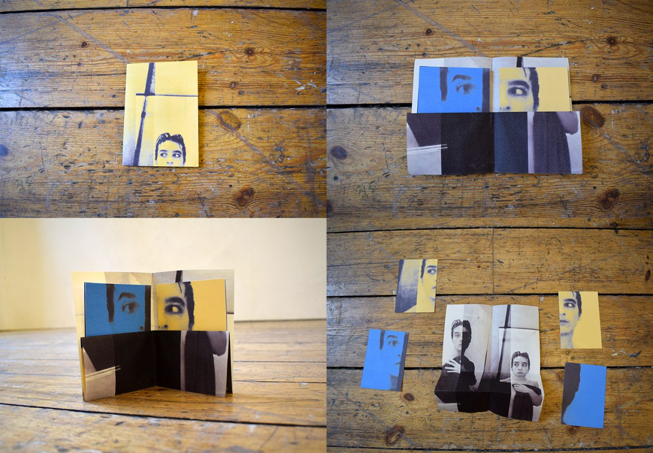 Headed Two A7 book made from a folded A4, double-sided, inkjet print, containing 4 postcards