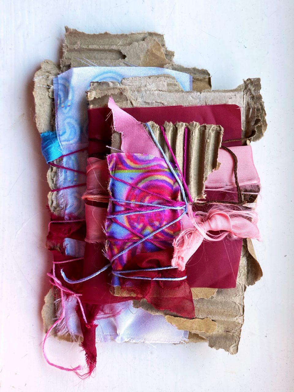 18 cm x 12 cm x 1.5 cm 'The Embodiment of Incomprehensible' March 2021. (fabric, thread, cardboard)