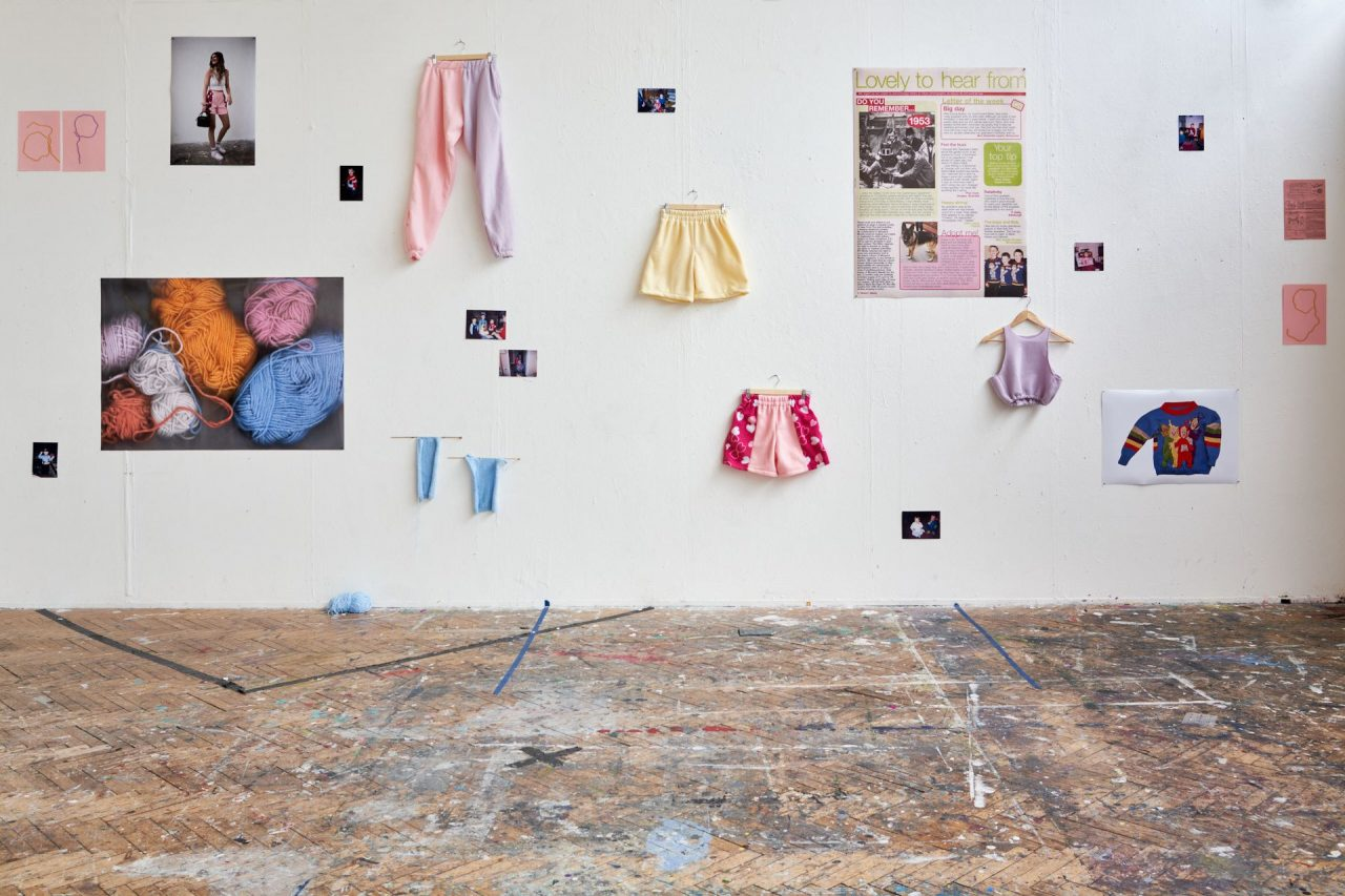A spaced out collage which gives space and celebrates each individual piece which layered together makes an intergenerational practice continuing knitted and domestic objects. An exploration of what it means to use domestic crafts and explore its history in a contemporary practice, re configuring its stereotype by implementing the DIY self taught element back into the practice.