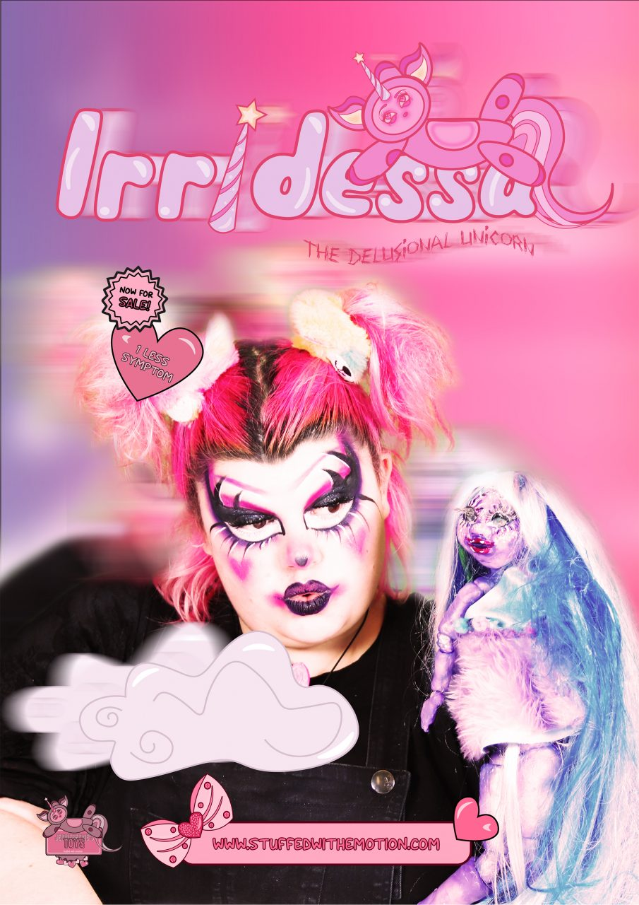 designed poster of a ball jointed doll with women with ''living doll'' make up in it. red color theme. added graphics with title of the doll''Irridessa the delusional unicorn'' and standard toy store marketing.