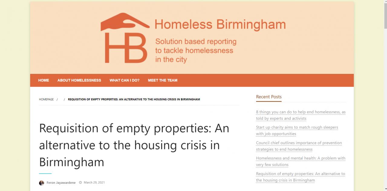 Screenshot of website article on requisition of empty properties