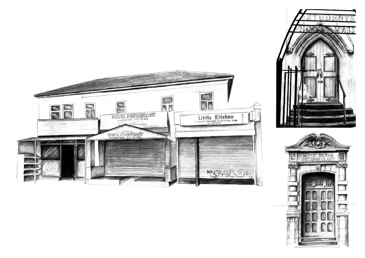 Heirs of Time - Site Façade Pencil Drawings by Laura Hastings.
